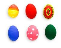 Αυγά Πάσχας καθορισμένα απομονωμένα στο άσπρο υπόβαθρο Στοκ Εικόνες