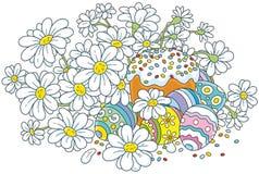 Αυγά Πάσχας και ένα κέικ με τα λουλούδια Στοκ Εικόνες