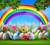 Αυγά Πάσχας και ζωηρόχρωμος στον κήπο απεικόνιση αποθεμάτων