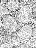 Αυγά Πάσχας και λουλούδια που χρωματίζουν τη σελίδα Στοκ εικόνες με δικαίωμα ελεύθερης χρήσης