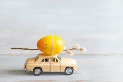 Αυγά Πάσχας και catkins στην αφηρημένη αναδρομική έννοια αυτοκινήτων Στοκ Εικόνες