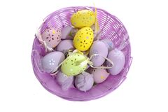 αυγά Πάσχας καλαθιών Στοκ Φωτογραφία