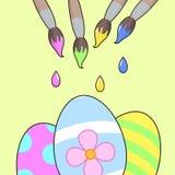 αυγά Πάσχας καρτών ευτυχή Σχέδιο εμβλημάτων Διανυσματική απεικόνιση