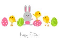 Αυγά Πάσχας με τα χαριτωμένα ζώα Στοκ Εικόνες