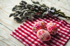 Αυγά Πάσχας με την ιτιά γατών στο ελαφρύ υπόβαθρο Στοκ φωτογραφία με δικαίωμα ελεύθερης χρήσης