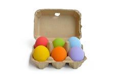 Αυγά Πάσχας με το κιβώτιο κινούμενων σχεδίων Στοκ Εικόνα