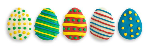 Αυγά Πάσχας που γίνονται από πολύχρωμο Plasticine Στοκ Εικόνες