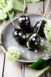 Αυγά Πάσχας που διακοσμούνται με την καραμέλα και τα λουλούδια Στοκ Εικόνες