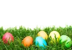 Αυγά Πάσχας που κρύβουν στη χλόη Στοκ Φωτογραφία