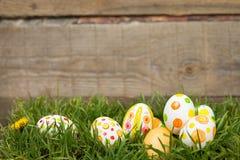 Αυγά Πάσχας που κρύβουν στη χλόη Στοκ φωτογραφίες με δικαίωμα ελεύθερης χρήσης