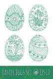Αυγά Πάσχας που τίθενται με το σχέδιο επίσης corel σύρετε το διάνυσμα απεικόνισης Στοκ Εικόνες