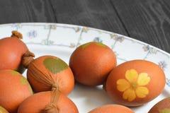Αυγά Πάσχας που χρωματίζονται με το κρεμμύδι Στοκ φωτογραφία με δικαίωμα ελεύθερης χρήσης