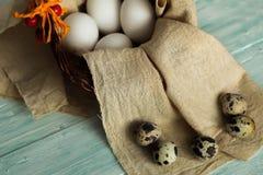 Αυγά Πάσχας σε ένα καλάθι έτοιμο για τη διακόσμηση στοκ εικόνα