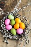 Αυγά Πάσχας στη φωλιά ιτιών, λουλούδια πέρα από το ξύλινο αγροτικό υπόβαθρο Στοκ Εικόνες