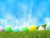 Αυγά Πάσχας στη χλόη απεικόνιση αποθεμάτων