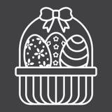 Αυγά Πάσχας στο εικονίδιο γραμμών καλαθιών, Πάσχα ελεύθερη απεικόνιση δικαιώματος