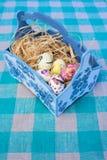 Αυγά Πάσχας στο μπλε καλάθι Στοκ φωτογραφία με δικαίωμα ελεύθερης χρήσης