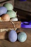 Αυγά Πάσχας στο ξύλινο κλουβί Στοκ φωτογραφία με δικαίωμα ελεύθερης χρήσης
