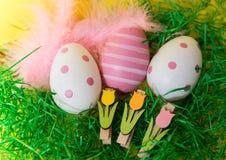 Αυγά Πάσχας στο πράσινο υπόβαθρο χλόης στοκ εικόνα