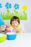 Αυγά Πάσχας χρωμάτων μωρών Στοκ Φωτογραφίες