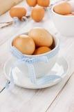 Αυγά Πάσχα με μια μπλε κορδέλλα στο άσπρο φλυτζάνι Στοκ εικόνα με δικαίωμα ελεύθερης χρήσης