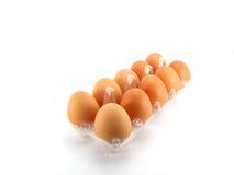 Αυγά που συσκευάζονται στο άσπρο υπόβαθρο στοκ εικόνες