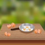 αυγά που τηγανίζονται Στοκ Φωτογραφίες