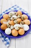 Αυγά σε ένα μπλε κεραμικό κύπελλο Στοκ Εικόνες