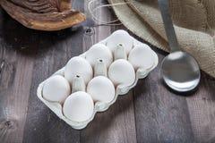 Αυγά σε ένα eggbox Στοκ Φωτογραφία