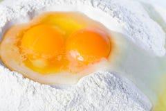 Αυγά στο αλεύρι Στοκ Εικόνες