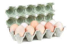 Αυγά στο κιβώτιο χαρτοκιβωτίων Στοκ Φωτογραφίες
