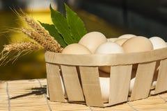 Αυγά στο ξύλινο τετράγωνο Στοκ Εικόνες