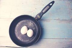 Αυγά στο τηγάνι Στοκ φωτογραφία με δικαίωμα ελεύθερης χρήσης