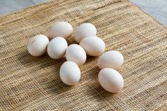 Αυγά στο χαλί καλαθιών Στοκ εικόνα με δικαίωμα ελεύθερης χρήσης