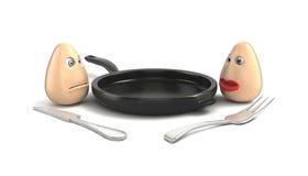 Αυγά, τηγάνι, δίκρανο και μαχαίρι στο άσπρο υπόβαθρο Στοκ Εικόνα