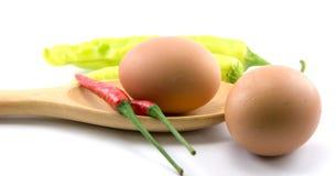 Αυγά, τσίλι, φυτικά, φυτικά κολοκύθια, ταμπλέτες που χρωματίζονται Στοκ εικόνα με δικαίωμα ελεύθερης χρήσης
