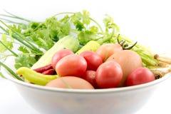 Αυγά, τσίλι, φυτικά, φυτικά κολοκύθια, ταμπλέτες που χρωματίζονται Στοκ Εικόνες
