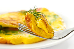 αυγά φρέσκων κρεμμυδιών που ανακατώνονται Στοκ Φωτογραφία