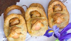 Αυγά cuddure Πάσχας donuts στη Σικελία Στοκ φωτογραφία με δικαίωμα ελεύθερης χρήσης