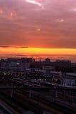 αυγή διαθέσιμο μεγάλο διάνυσμα εικονιδίων πόλεων Στοκ Εικόνες