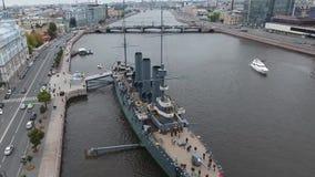 Αυγή ταχύπλοων σκαφών στον ποταμό Neu, η πόλη της Αγίας Πετρούπολης φιλμ μικρού μήκους