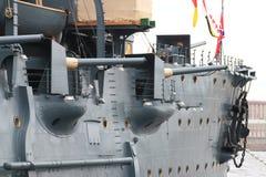 Αυγή ταχύπλοων σκαφών Πυροβόλα όπλα γεφυρών της δεξιάς κινηματογράφησης σε πρώτο πλάνο Στοκ φωτογραφία με δικαίωμα ελεύθερης χρήσης