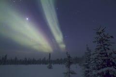 Αυγή Borealis, Raattama, 2014 02 21 - 17 Στοκ εικόνα με δικαίωμα ελεύθερης χρήσης