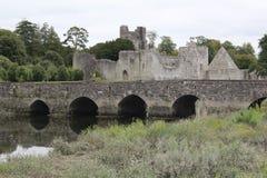 Αυγουστινιανική άποψη της Ιρλανδίας πεντάστιχων Adare αβαείων με μια γέφυρα στοκ εικόνες
