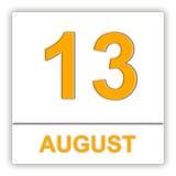 13 Αυγούστου Ημέρα στο ημερολόγιο Στοκ Εικόνες
