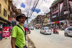 18 Αυγούστου 2014 - ταξιδιώτης στο Κατμαντού, Νεπάλ Στοκ Εικόνες