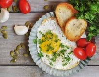 Αυγό και φρυγανιά για το πρόγευμα Στοκ φωτογραφίες με δικαίωμα ελεύθερης χρήσης