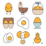 Αυγό, καλάθι, κιβώτιο, κοτόπουλο, εικονίδια νεοσσών απεικόνιση αποθεμάτων