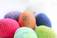 Αυγό με το ευτυχές πρόσωπο Στοκ φωτογραφία με δικαίωμα ελεύθερης χρήσης
