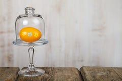 Αυγό Πάσχας σε ένα διαφανές πιάτο γυαλιού Στοκ φωτογραφία με δικαίωμα ελεύθερης χρήσης